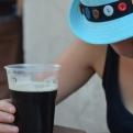 Kiri enjoying buskers and beer