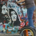 Segway at the John Lennon Peace Wall