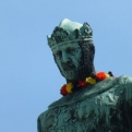 A patriotic statue the day after Germany's footballing victory