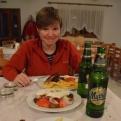 Dinner provided by the lovely Kostas (Kiri not enjoying having her photo taken in restaurant)