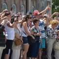 Tourists enjoying the spectacle