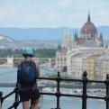 Kiri filming the cityscape from Gellért Hill