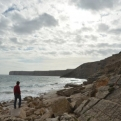 Kiri in her element... the beach we stopped at near Sagres