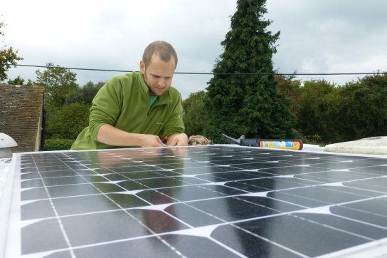 Re-sealing around the solar panel to ensure a watertight seal