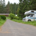 Bertha parked up at steep campsite after a small off-road adventure