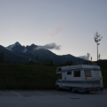 Bertha parked up at the foot of the mountains, in the shadow of Lomnický štít
