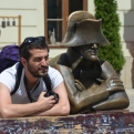 A series of bronze statues appear to be Bratislava's main tourist attractions