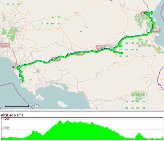 Route travelled on 15 December 2013