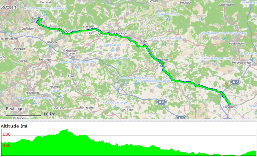 Route travelled on 23 July 2014