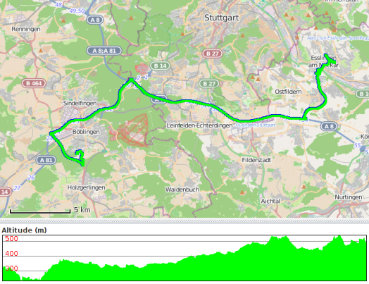 Route travelled on 24 July 2014